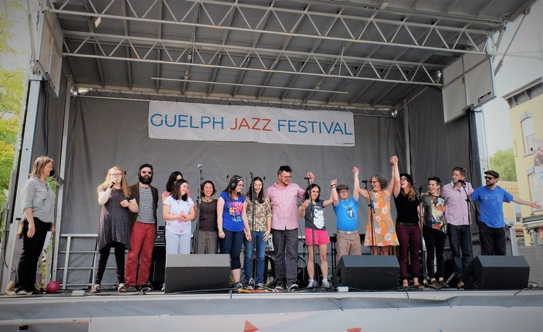 KidsAbility youth performing at the Guelph Jazz Festival. Courtesy of KidsAbility.